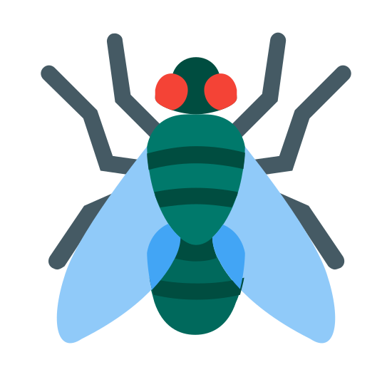 Fly icon. This is a drawing of a fly. It is drawn from a bird's-eye view so you get the entire fly with its head on the top and its wings on the bottom with legs sticking out both sides.