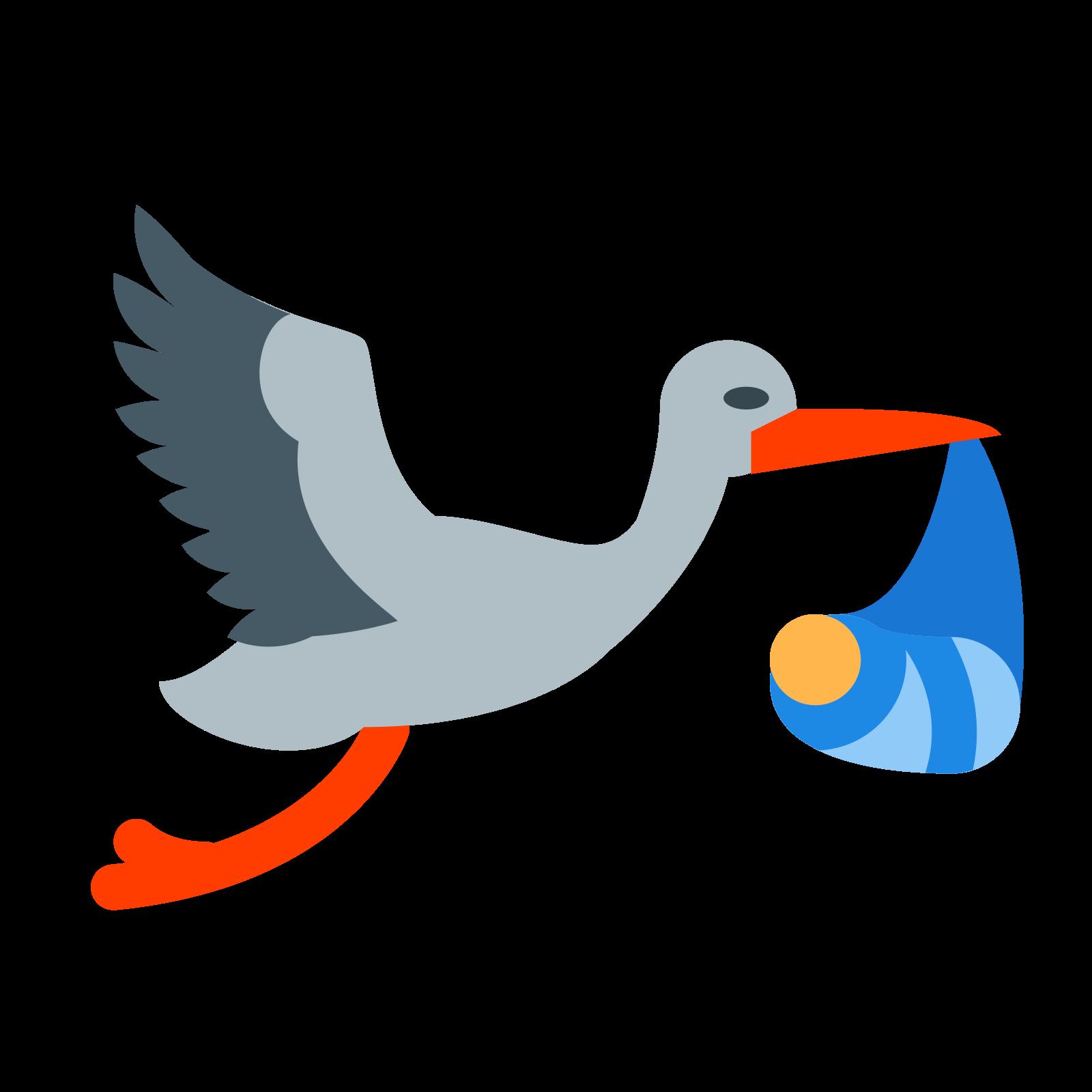 Lecący bocian z paczką icon