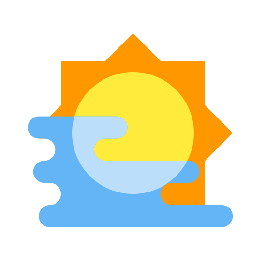 Haze icon. It's a logo to describe fog. It's a line drawing of a round sun with 6 lines protruding from it as sun rays with 3 horizontal lines extending from as fog.
