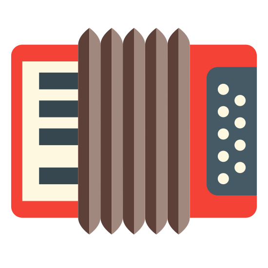 Muzyka folkowa icon. This icon represents folk music. It is a rectangle shape with two rectangles on each side and eight smaller rectangles inside, The right side rectangle has several circles inside of it while the left one has lines to represent keys.
