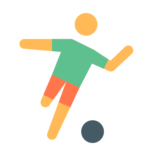 Soccer icon. Shows a silhouette of a man on with one leg raised getting ready ot kick a ball.The ball is at the left as his right foot is preparing to kick