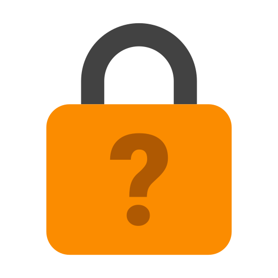 Forgot Password icon. This icon is of a lock with a question mark. The lock is a padlock shown from the front and the question mark is on the body of it.