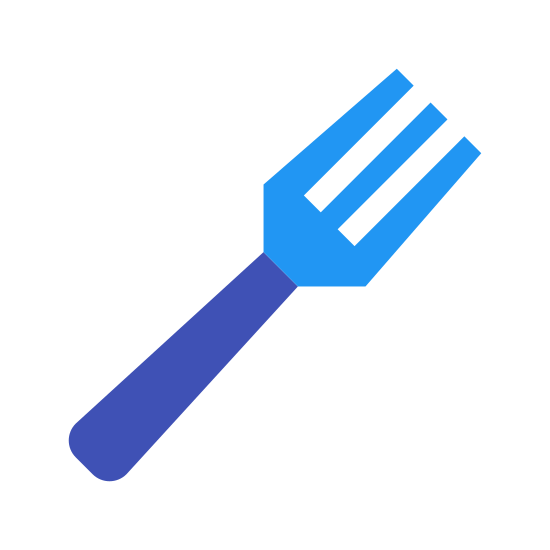 Fork icon. This is a black and white outline of a fork. There are three prongs, set side by side with no space.