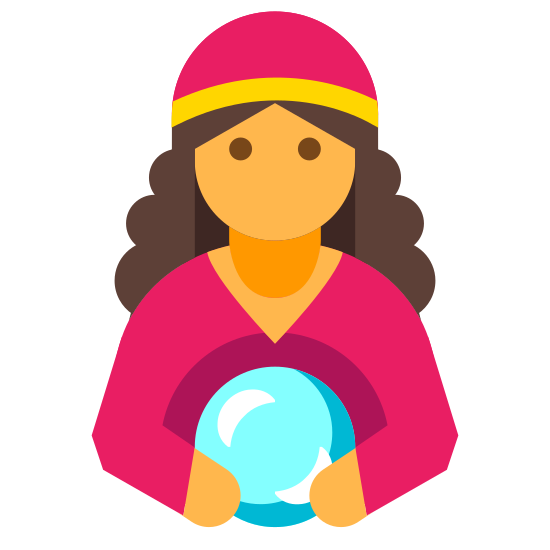 Fortune Teller icon. This is an icon of a man holding a ball.The man is standing upright with both hands on the ball, however the lower portion of the body is cut off, showing only the torso.