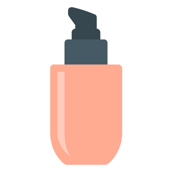 Podkład icon. There is square like shape at the bottom with semi soft edges. there is a square right on top of it with a spray area at the very top that you can push in.