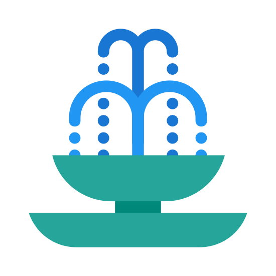 Fontanna icon. This icon is a drawing of a fountain with a big bass at the bottom and a platform coming up that is round in shape. There is water heading off to all sides from the platform at the top.