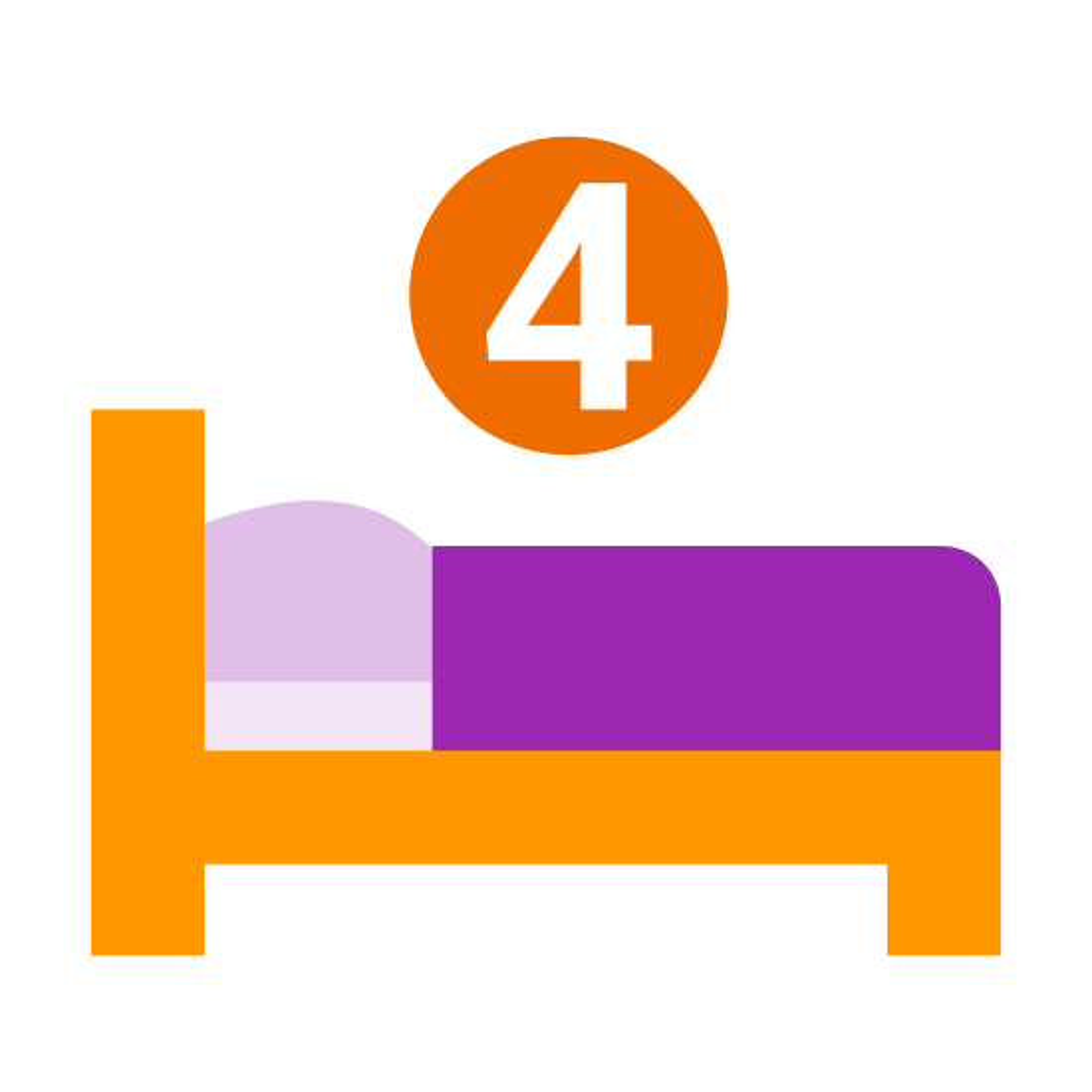 四张床 icon. The four bed symbol is a bed, but on the top of the bed there will be a number 4. The bed has a headboard and footboard and a mattress on top of it. The bed will also be shown with a pillow and blanket, but there are not 4 different beds.