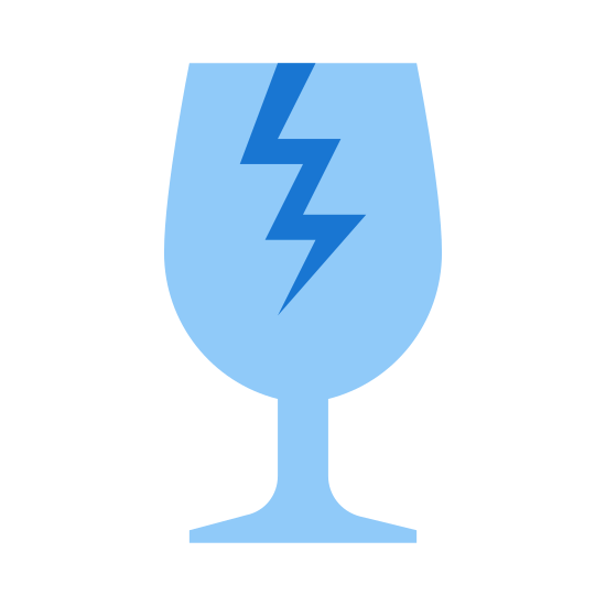 "Kruchy icon. This is an image of a wine glass. The wine glass has a crack from the top rim going down into the middle. This is exactly like the image you would see on many boxes to indicate ""fragile"" or ""breakable"" items within."