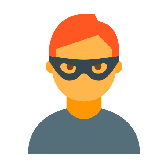 Fraud icon. This is an image of a face with a small mask on. He has hair on the top of his head.