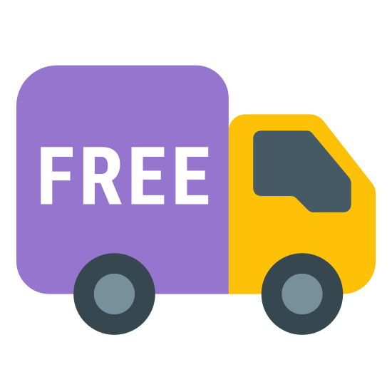 "Darmowa dostawa icon. This is a photo of a truck. The back of the truck is a square with the word ""FREE"" in the center of it. One circle is on the bottom of the square, and there is another circle under the front, which is square-like with one flat side on the right."