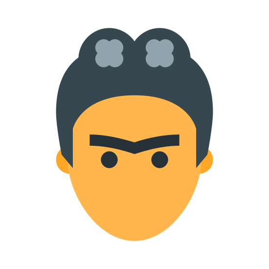 Frida Kahlo icon. It's an image of the front of what appears to be a woman's face.  The face has no mouth, but only has two dots for eyes and one bat-shaped eyebrow covering them both. The image has a stylized hairdo that looks like two buns on top of the head.