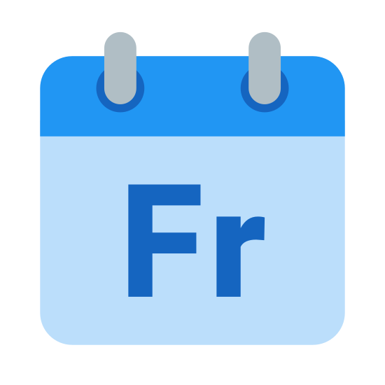 """Friday icon. It's a logo of a calendar page. There are two rings on top then a page coming down with a line near the top of the page. On the larger lower part of the calendar page are the letters """"Fr"""" representing Friday."""