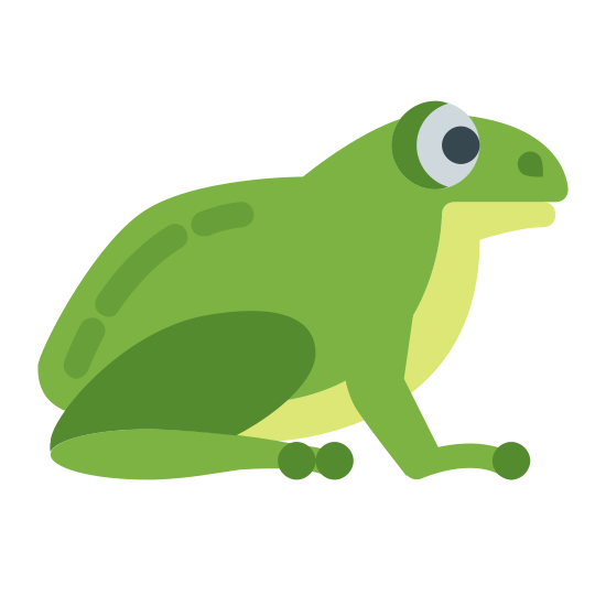 Лягушка icon. It's an image of the side profile of a frog.  The frog is sitting with all four legs on the ground, and his eye looking forward.  The frog could quickly jump from this position.