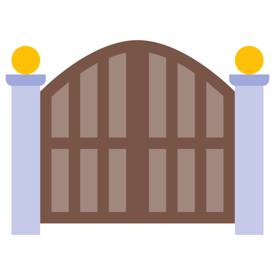 Frontowa Brama Zamknięta icon. It's the image of a stylized gate, with two gate doors hinged at the exterior to two poles. The two poles have a decorative ball at the top, and the gates arch up in the middle. Each gate door has a knob near the center of the image.