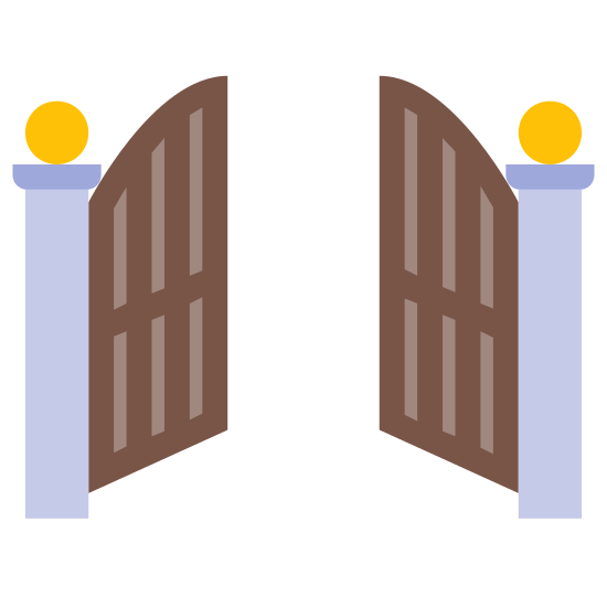 Front Gate Open icon. This is a picture of two doors, almost like saloon doors, that are opening. they are both on tall flagpole shaped hinges and they have pointed curves in the middle. they are opening away from you.