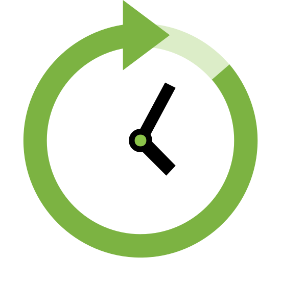 Future icon. The icon is shaped like a circle but one end located at the top right has an arrow. The other end doesn't fully touch the arrow point after wrapping fully around. Inside the circle are lines that resemble a clock showing 4 o'clock.