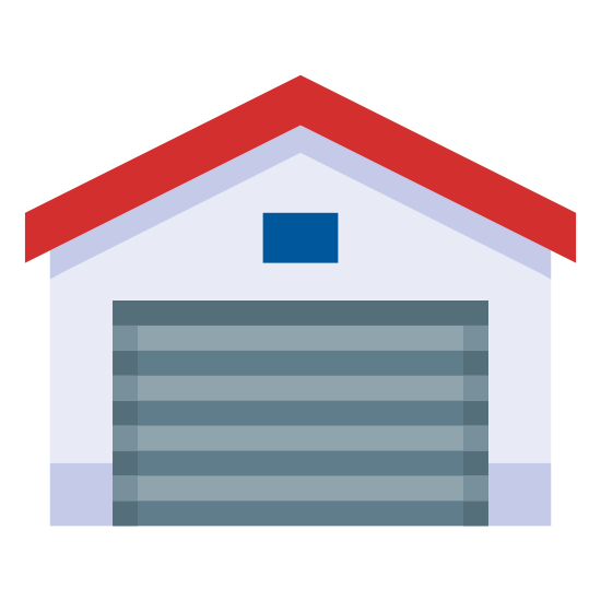 Garaje cerrado icon. There is the front-facing side or entrance of a large garage. The garage door lacks much detail, as does the garage itself. It's roof shape resembles a barn but it's obviously a garage as the garage door is closed and its handle is visible.