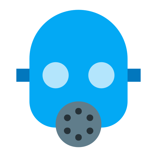 Maska gazowa icon. This icon is a hairless face that has a gas mask on. It is a typical gas mask. It has big eyes, and a round breathing device in the mouth part.