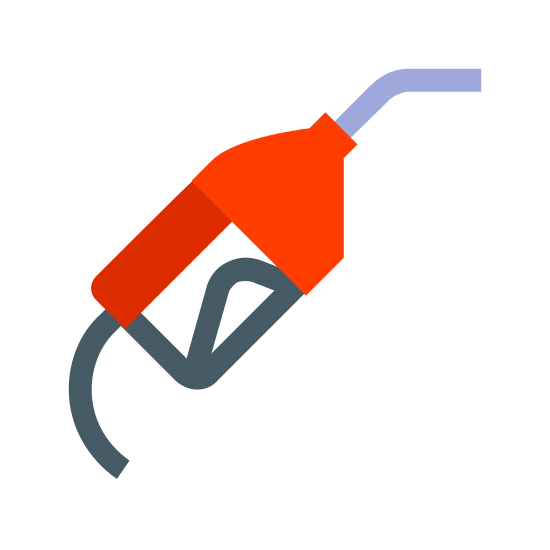 Gas Pump icon. This icon represents a gas pump. On the top right hand corner is a curved top straight piece going down into a rectangle shape with a rounded top and straight bottom with a rounded trigger in the middle. The straight bottom has a curved line coming out of it.