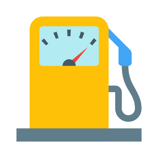 Бензоколонка icon. It is a icon for a gas pump. It has the front screen and the hose for pumping gas. The hose for pumping gas is unhooked from the pump, it has a long nozzle and handle.