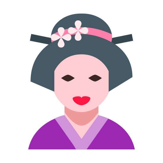 Geisha icon. A geisha is someone in Japanese culture that was usually a rice farmer. So they wore spectacular outfits, and had things to cover their heads to hide from the sun/heat/keep cool while they farmed. They were usually woman by nature, and were very white in color.