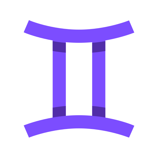 Близнецы icon. This particular icon has two vertical lines that are sitting parallel to each other. At the ends of both lines is a curved line that curves inwards towards the two vertical lines.