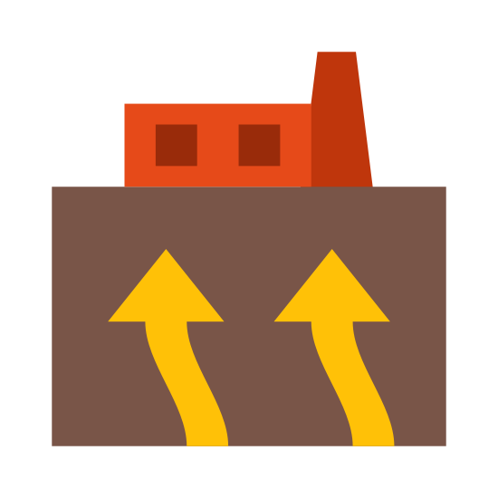 Geothermisch icon. The geothermal icon is represented with a building, but one part of the building will have higher top where smoke will come out of. The other part of the icon is there will be arrows coming from the bottom of the building or the ground and into the building.