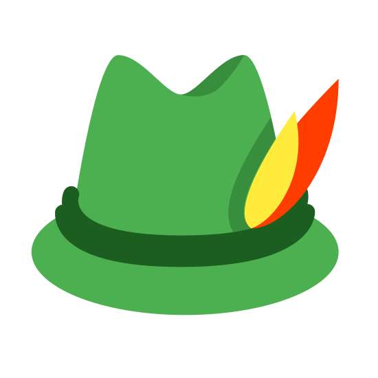 Niemiecki kapelusz icon. A German hat that goes on top of your head, it will fit snug and cozy and is meant to be a fashion statement for why it's worn. It has circular bottom and on the top it gets smaller, this one for instance can be found in Germany.