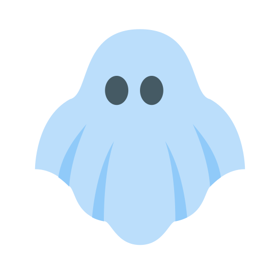 Duch icon. It's an icon of a ghost, like the kind people dress up as on Halloween with the sheet and the two holes cut out for eyes. Except this isn't a person, it's just floating in the air.
