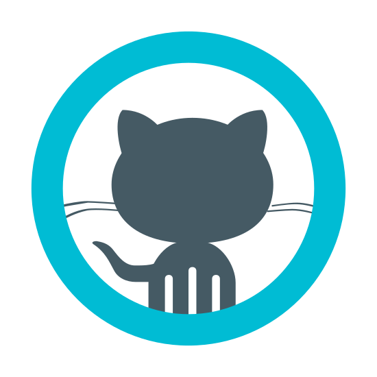 GitHub icon. It is the cat logo of GitHub drawn inside of a circle. The GitHub logo is the outline of the front profile of a cat with whiskers and a tail. There are two whiskers on each side of the cat's face that run to the edge of the circle.
