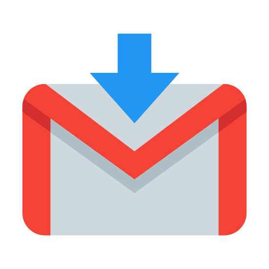 "Logowanie Gmail icon. This is the G-Mail login logo. There is a rectangle which contains an ""M"" that uses the left and right of the rectangle to form the left and right of the ""M"". There is an arrow through the top that points down."