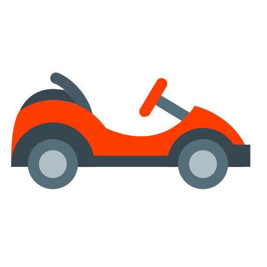 Go Kart icon. This image is of a small vehicle shape with two circles on each end of the main shape. It also has a small line coming front the front top portion connecting to another line that represents the steering wheel.