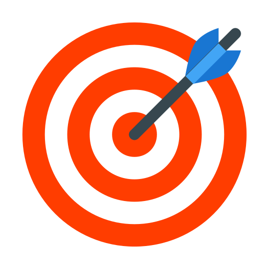 Goal icon. This image is composed of a circle in the center.  Around that circle are three concentric rings of increasing diameter.  Going from the center circle is a diagonal arrow shape without the arrowhead going towards the upper right.