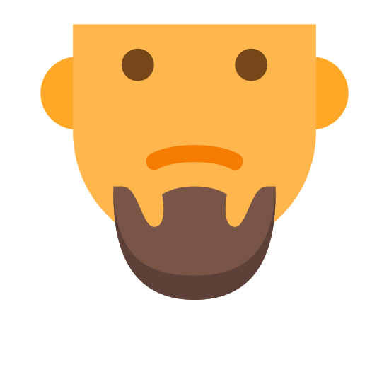 Kozia bródka icon. The icon is the hairless face of a cartoon man. His eyes are open wide and he has a frown on his face. However, what seems to be popping out is his goatee, a small patch of hair on his chin.