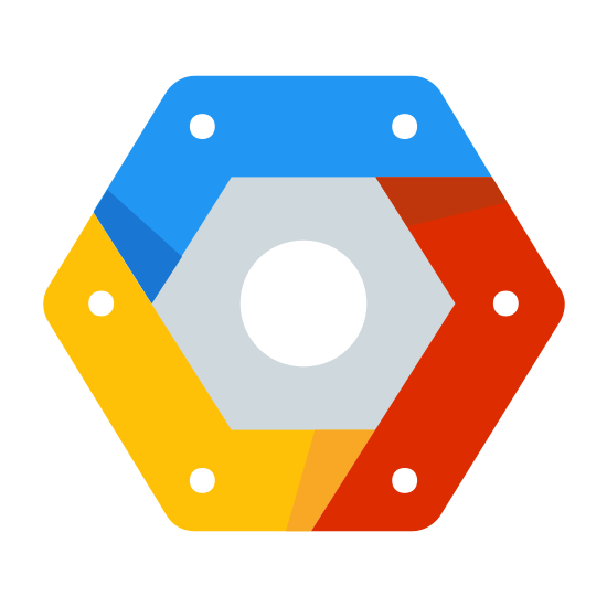 Google Cloud Platform icon. There is a hexagon with some extra lines on the inside to add an extra block-like dimension to it. Then in the center of the hexagon there is a single circle.