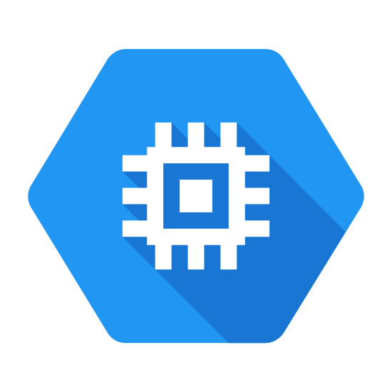 Google Compute Engine icon. There is an outline of a hexagon. Within lies the representation of a computer chip. There is a single solid square in the center, surrounded by the outline of another square. From this square, three lines extend from each side.