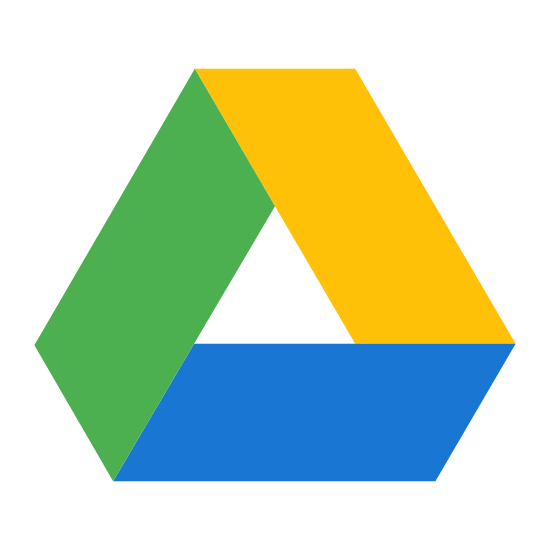 Google Drive icon. The Google drive icon is ribbon shape that is wrapped together to form a triangle shape. Each of the three sides are rhombus and they are connected together to form a triangle shape. The center of the triangle is empty.