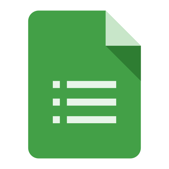 Formularze Google icon. It's a logo of Google Forms reduced to a clip of an ordinary form. The logo has three lines and circles on it and pretty much looks like the logo found on Google Forms website.