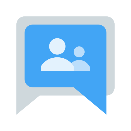 Grupy Google icon. It's an icon for Google Groups. It shows a talking bubble like you would have to denote someone speaking. The bubble is square-shaped with three people depicted on the inside of it. The people have round heads that float above a half circle which faces downward.