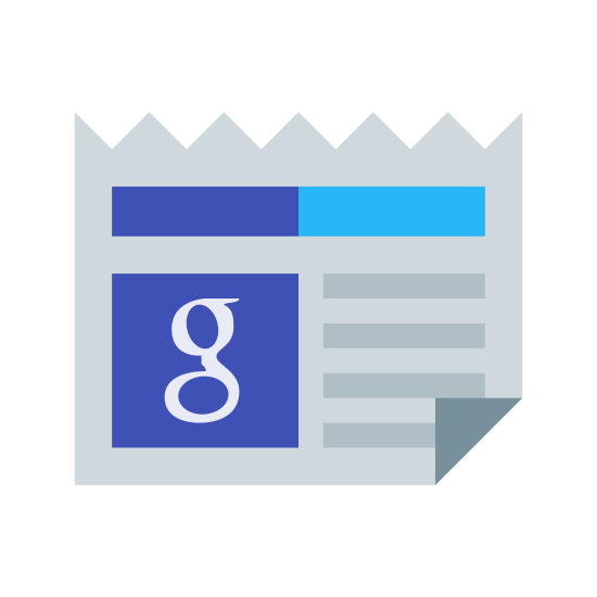 "Google News icon. This icon is a newspaper.  There is a small box on the left middle of the page with a gothic style letter ""g"" in the middle to represent Google.  The top of the paper is cut in a zigzag pattern and the bottom right corner of the page is folded up."
