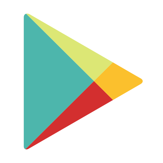 Google Play icon. The icon consists of what looks like three overlaid triangles. They form one rightward-pointing equilateral triangle. Inside it are inlaid two acute triangles, pointing to the right. One triangle is pointed slightly up, and the other slightly down.