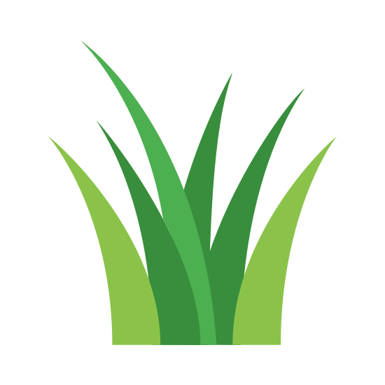 Grass icon. It is a patch of grass. There are four blades of grass, with three blades in the foreground and one blade in the background. Two blades curve to the left, and two blades curve to the right. The third blade of grass is in the background and curving to the right.