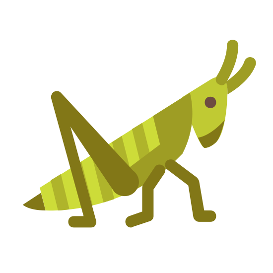 Konik polny icon. This icon represents a grasshopper. On the right side of the icon is two antennas attached to a head with one small round eye in the middle. The head leads down into a point and around to a rounded body with three legs showing, two small and one large one with little jointed feet on them.