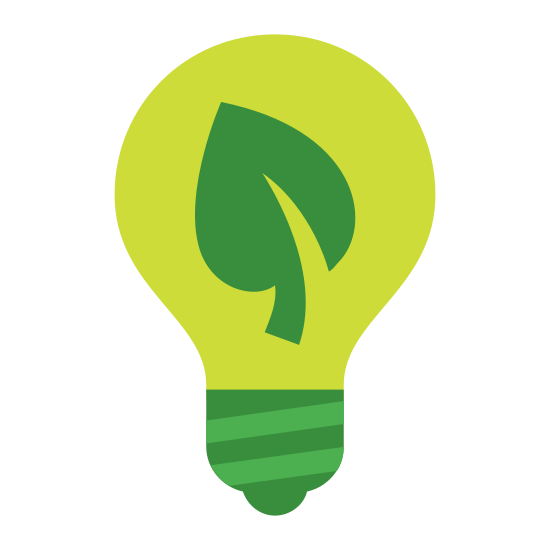 Zielone technologie icon. It is a small leaf inside of a lightbulb. The tip of the leaf is near the top of the lightbulb and the stem of the leaf reaches down to the bottom of the bulb.