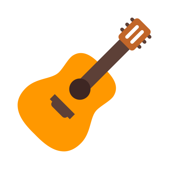 Guitar icon. The icon is a guitar. The guitar is an instrument that has a whole in the center. Strings front the top of the guitar to right above the center. On the top of the guitar it has tuners which are used to tune the strings on the guitar so they are close to perfect pitch.
