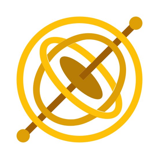 Gyroscope icon. This is a circle with two very short lines coming out on opposite ends. Both lines have a small circle dot at the end of them. Inside the big circle are two overlapping ovals. Inside the very center of those ovals is a thick circular disk with a hole in the center.