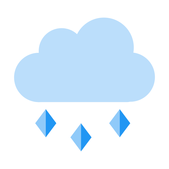 Hail icon. This is a picture of a cloud with three circular puffs. The bottom is flat with three tiny triangular sharp pointed shapes coming out, almost like hail. They are going in a slanted downwards direction out of the cloud.