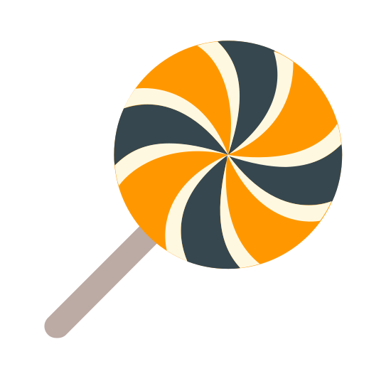 Halloween Candy icon. This icon is depicting a lollipop on a stick. The candy is decorated with swirls and segmented into 8 parts with dots alternating on each segment. The lollipop is tilted towards the right.