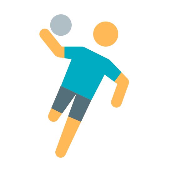 Handball icon. The icon is a picture of someone playing handball. Its in the shape of a person, with a ball on their right arm.