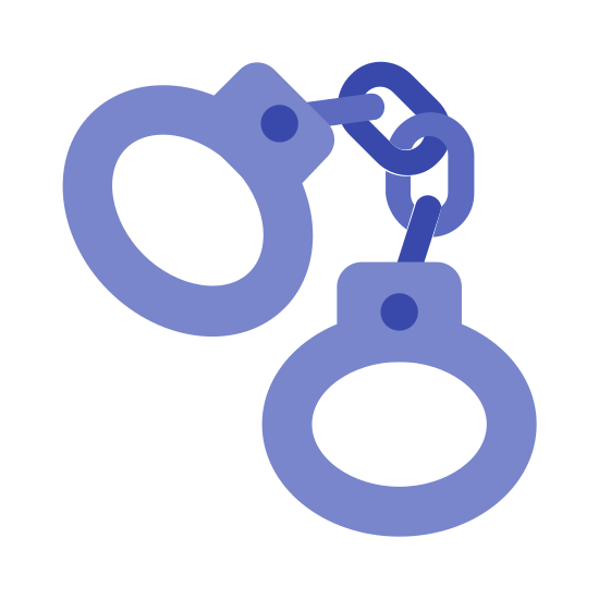 Handschellen icon. The icon is a picture of handcuffs. The icon is shaped like two circles attached to a 2 link chain. Each circular object has a key hole looking structure between the hole in the circle and the point it attaches to the links